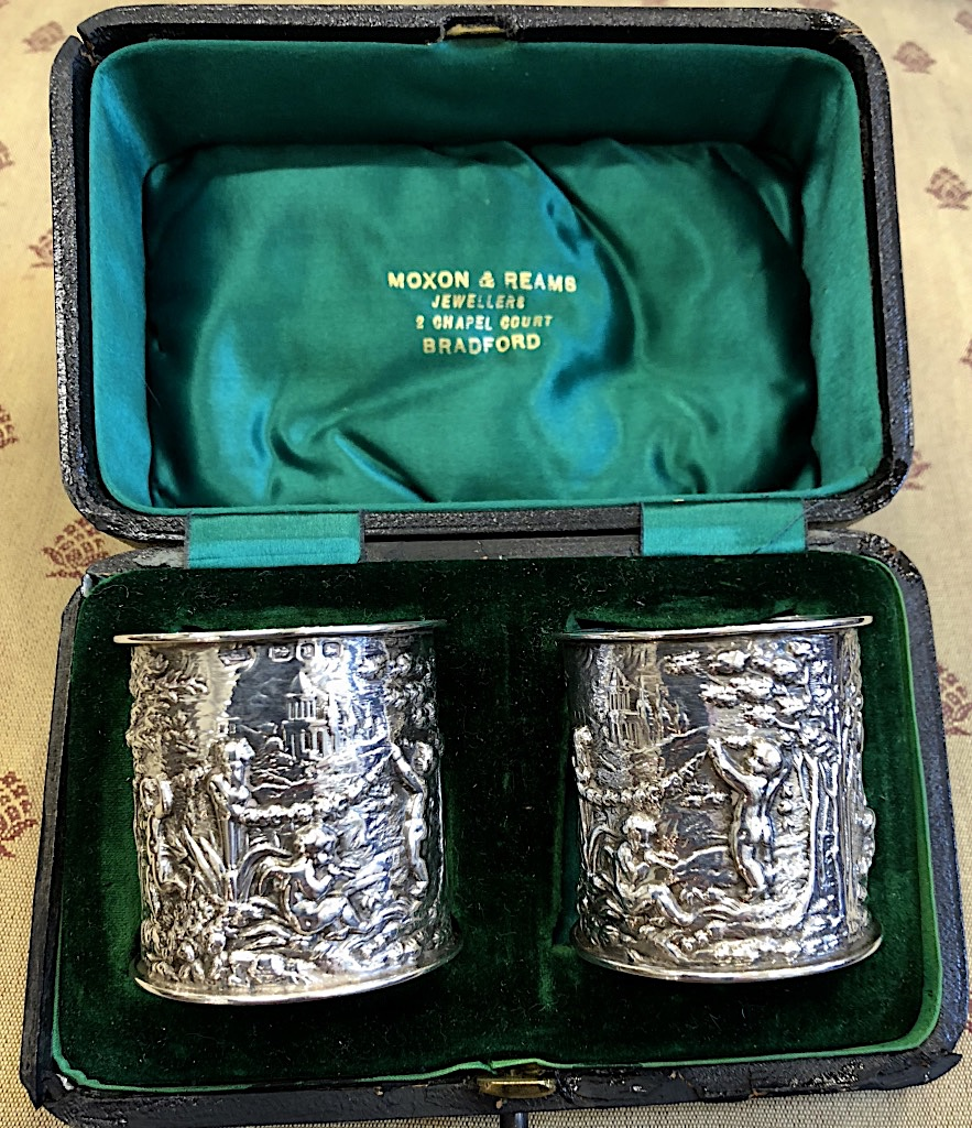 Charles Horner Silver Repoussé Decorated Napkin Rings