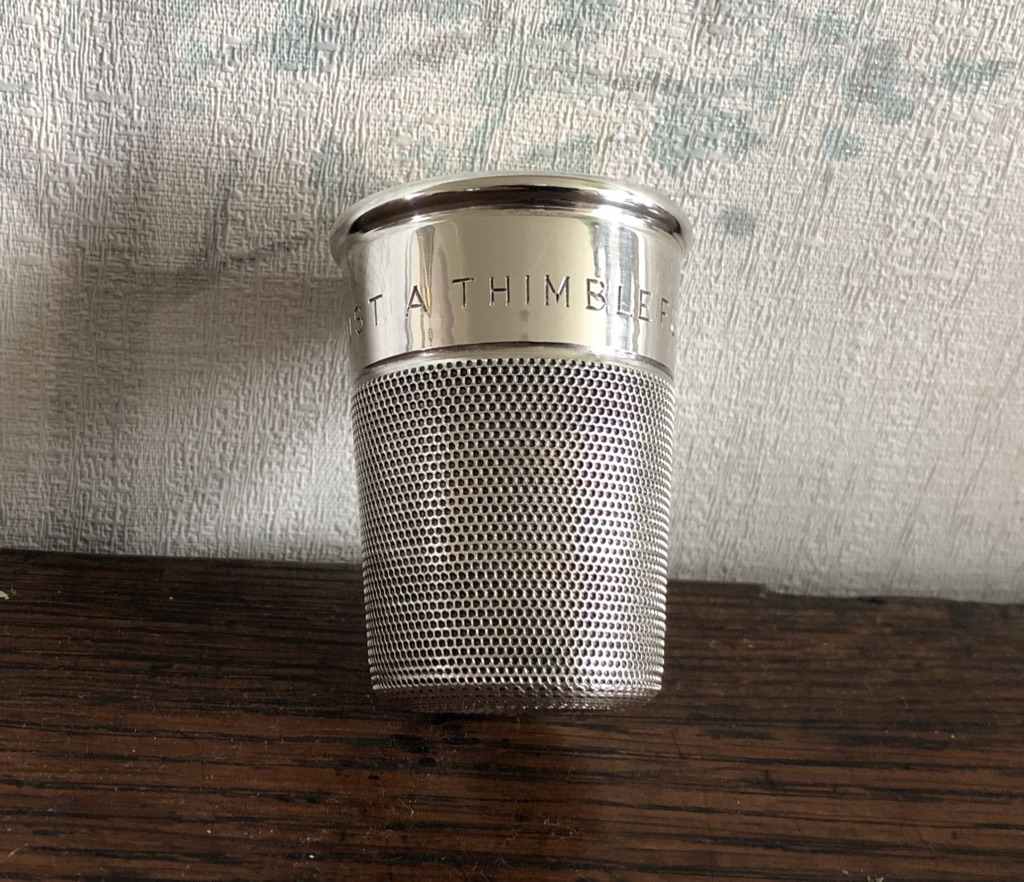 Charles Horner Novelty Silver Thimble Whisky Tot c1952