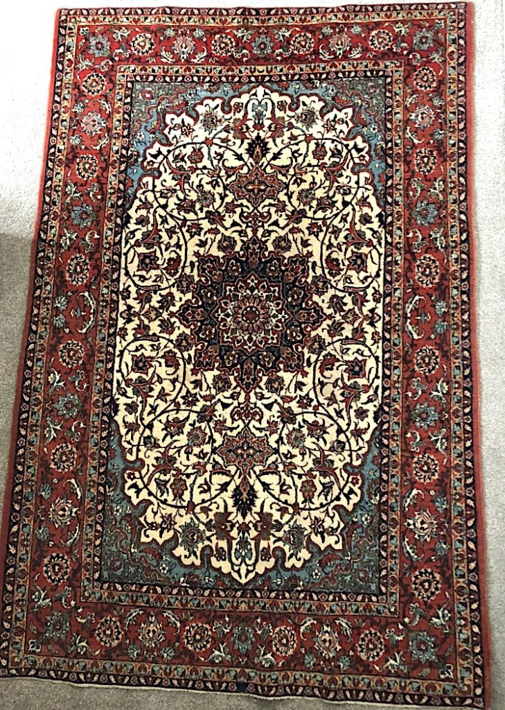 Isfahan Persian Rug Central Iran, circa 1950 Knot density about 1000,000 knots/square meter
