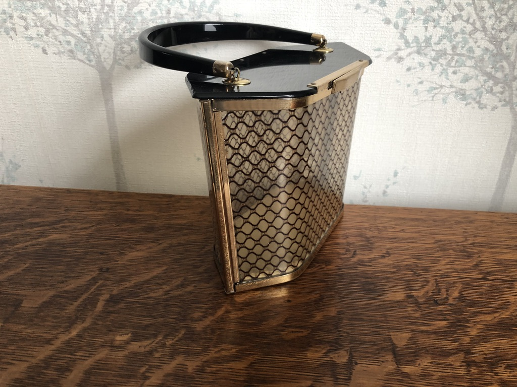 1950s American Majestic Lucite Handbag in Black and Gold