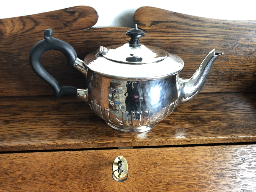 WW1 period Arts and Crafts Charles Edwards Silver Teapot 1917