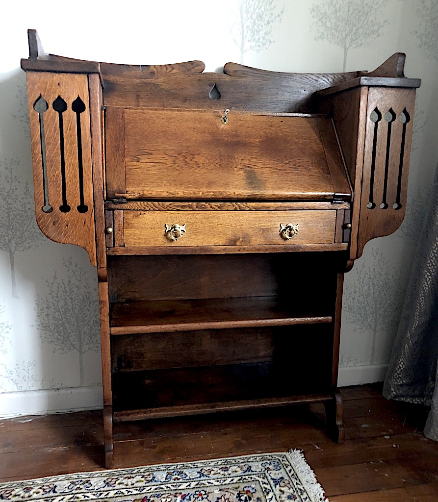 Glasgow School Arts and Crafts Oak Bookcase Bureau
