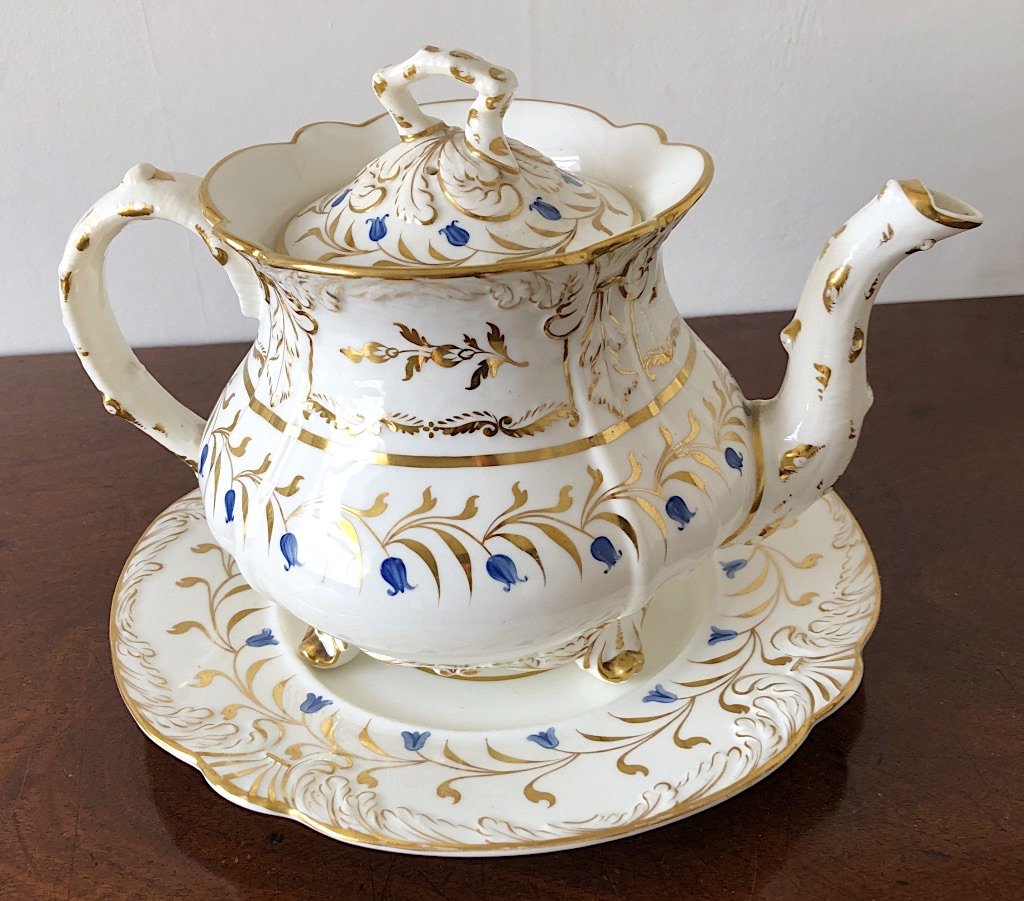 Rockingham Bluebell Pattern Teapot & Stand c1831