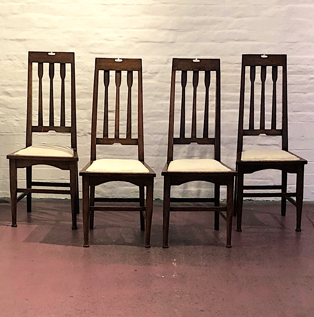 Set of Four Glasgow School Arts & Crafts Chairs c1905