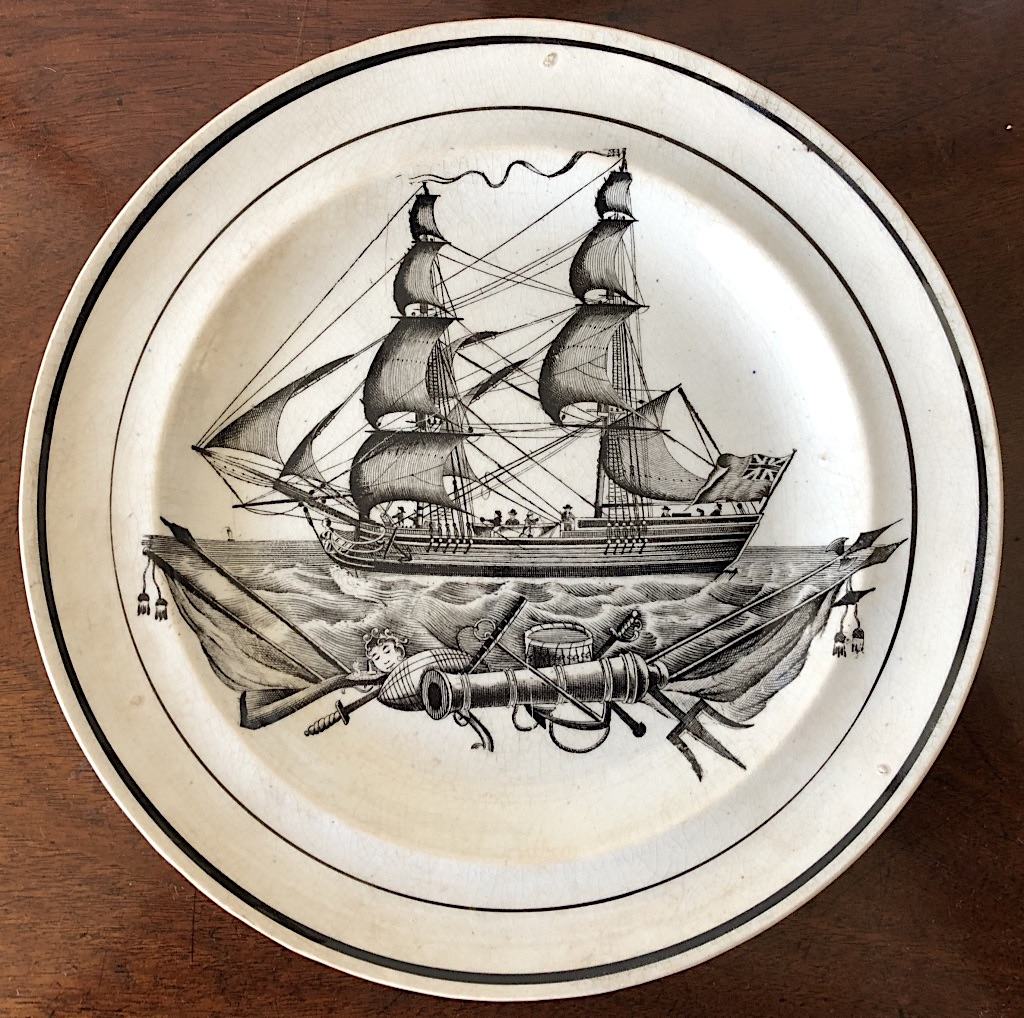 Swansea Dillwyn Creamware Plate, Ship Decoration c1830