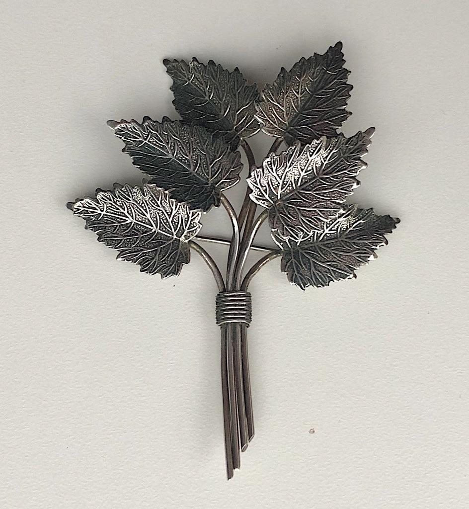 1945 Charles Horner Silver Leaf Brooch