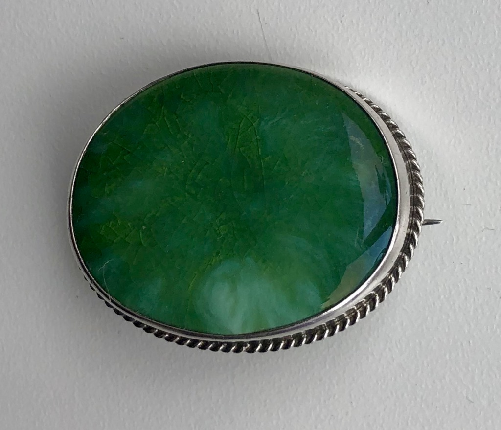 Charles Horner WW1 Period Green Silver Ruskin Brooch, 1918