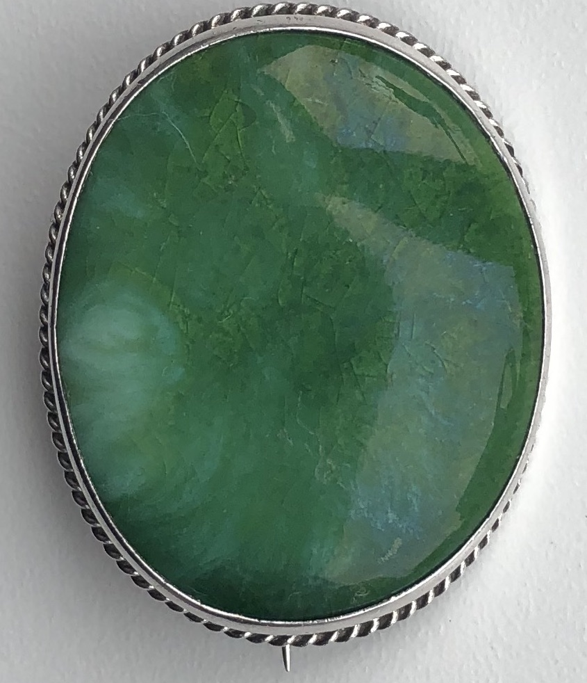 Charles Horner WW! period Green Silver Ruskin Brooch, 1918