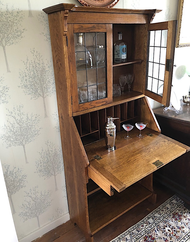 Edwardian Arts and Crafts Oak Bookcase Bureau or Unusual Cocktail Cabinet