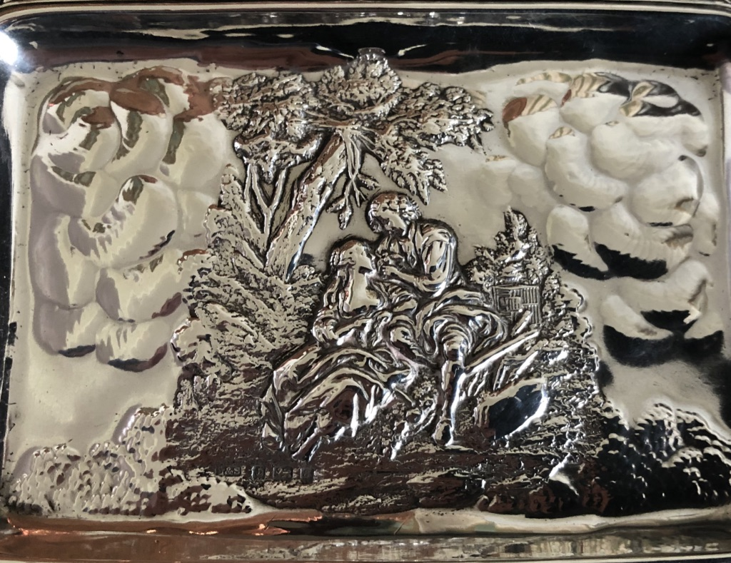 Levi and Salaman Green Man Silver Card Tray c1900